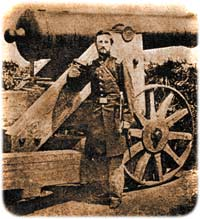 Capt. Edward A. Tudor of Company F, 4th New York Heavy Artillery, posing in front of a barbette-mounted 24-pounder in Fort Bennett atop Arlington Heights, Virginia, during the spring of 1862. (Heavy Guns and Light)