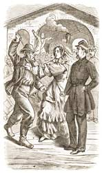 Colonel Corcoran being saved by a Southern belle at the railway station in Gaston, North Carolina, September 1861. (The Captivity of General Corcoran)