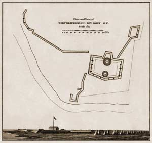 Diagram of Fort Beauregard and its outworks, as surveyed a year after the capture of Port Royal Sound. Note how the original, single Columbiad mounted on a center-pintle at this fort's salient-angle, had been replaced by an extra gun-position along either face by its Federal occupiers. (Historical Map and Chart Collection, NOAA)