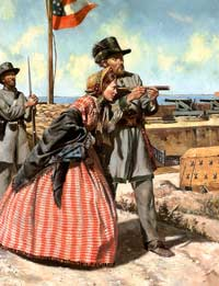 Modern depiction of an officer of the 1st South Carolina Rifles holding his field-glass, so that a lady visitor to Fort Moultrie might glimpse the distant city of Charleston, late 1861 or early 1862. (Don Troiani)