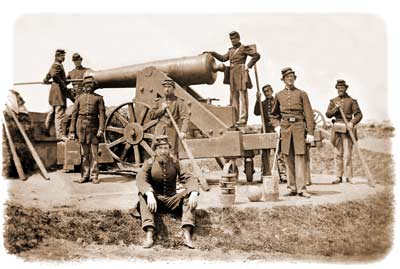 Seven-man gun-crew of the 4th New York Heavy Artillery, posing with a barbette-mounted 24-pounder in Fort Corcoran, spring of 1862. (Library of Congress)