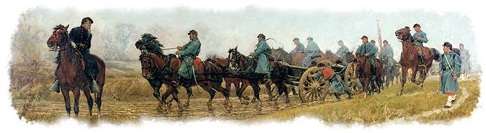 "Depiction of the typical difficulties in moving 19th-Century ordnance overland: Union soldiers straining to haul 12-pounders through the rain along a muddy road, in William T. Trego's 1882 painting ""Battery of Light Artillery en Route."" (Pennsylvania Academy of Fine Arts)"