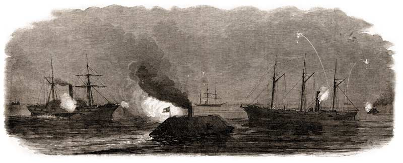 "Confederate ironclads ""Chicora"" and ""Palmetto State"" surprising the Union blockading vessels at anchor off Morris Island before dawn on January 31, 1863. (Leslie's Illustrated Weekly)"