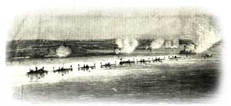 Column of advancing Union ironclads dueling against Fort Moultrie and other Confederate batteries on the afternoon of April 7, 1863, from Leslie's Illustrated