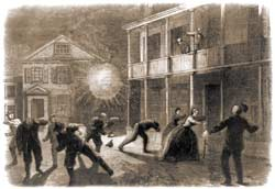 Shell bursting in a Charleston street, as witnessed after midnight on August 22-23, 1863 by the correspondent Vizetelly; his sketch was subsequently intercepted at sea while being sent to England, and was instead published as a woodcut engraving on Page 28 of the January 9, 1864 edition of Harper's Weekly. (Library of Congress)