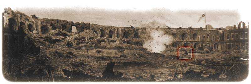 "Cook's famous ""exploding shell"" photograph, which also includes the lone mortar in the right background. Inexplicably, the ramparts above it show less battle-damage than other photographs taken this same day — note the numerous guns still mounted on their barbette-carriages, and the flag fluttering from its staff atop the terreplein. (Library of Congress)"