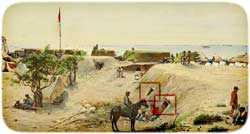 "Entrances into two of the ""bomb-proof shelters"" created in Moultrie's sand-covered western rampart, leading into a service magazine and Western Postern tunnel respectively, as painted by Chapman in September 1863 (Museum of the Confederacy)"