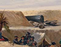 "A ""Quaker Battery"" as painted by Conrad Wise Chapman, ca. 1863. Confederate troops rest in the shade of some palmetto trees, while a pair of ""Quaker guns"" — actually large dark logs propped up with boards — point between two sand embrasures at a Union monitor offshore. (Museum of the Confederacy)"
