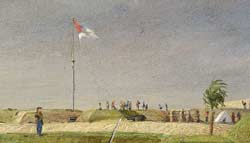 Chapman's painting of the view westward from atop Battery Rutledge, along the windswept shoreline of Sullivan's Island in early December 1863, with Fort Moultrie's flagstaff plainly visible at center. (Museum of the Confederacy)