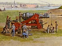 Charleston's White Point Battery, as recorded by the painter Conrad Wise Chapman on December 24, 1863. The repaired Blakely gun can be seen at left, being tended to by its artillery crew. (Museum of the Confederacy, Richmond, Virginia)
