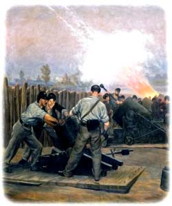 Union artillerymen realigning a small 10-inch siege mortar on its platform in the foreground, while a trio of heavy 13-inch seacoast mortars are being loaded and fired beyond, during the July 1864 siege of Petersburg, Virginia. (William Trego, 1892)
