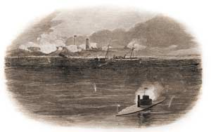 Eyewitness drawing by a Union onlooker of the destruction of the Confederate blockade-runner Presto, while grounded off of Sullivan's Island on February 2, 1864. Fort Moultrie can be seen wreathed in gunsmoke, its flagstaff visible to the left of the harbor beacon. (Harper's Weekly)