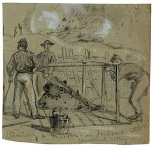 Union artillerymen posing around a smaller 10-inch siege mortar behind its epaulement on Morris Island, South Carolina, during the summer of 1863; note the tool-basket at far left, plus the cannoneers carrying a shell suspended from a handspike, and another pair demonstrating how rounds were to be lowered into the bore. (Library of Congress)