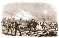 "The Union assault on Grimball's Causeway, February 10, 1865, as sketched by Frank Leslie's ""special artist"" W. T. Crane. (Frank Leslie's Illustrated Newspaper)"