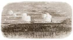 The Federal mortar-schooner Dan Smith at center, and gunboat Commodore McDonough at right, shelling the Confederate defenses at Grimball's Causeway on the afternoon of February 10, 1865, as sketched by W. T. Crane. (Frank Leslie's Illustrated Newspaper)