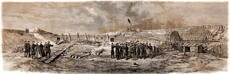 General Gllmore, along with some staff-officers, several ladies and a band, inspecting the rubble-strewn interior of Fort Sumter on February 20, 1865, as sketched by W. T. Crane. (Leslie's Illustrated Newspaper)