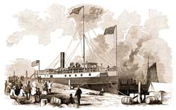 "The hired civilian steamer Oceanus out of New York, tied up at Charleston's waterfront on the evening of April 13, 1865, so that its passengers might witness the restoration of Robert Anderson's original 33-star U.S. flag to Fort Sumter next day. (Trip of the Steamer ""Oceanus"")"