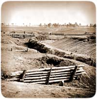 Communication-trenches radiating across the landscape between earthworks at war's end outside Petersburg, Virginia, April 1865. (Library of Congress)
