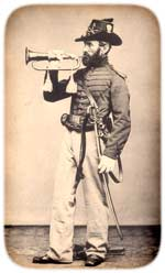 Posed figure of a U.S. Army cavalry bugler, ca. 1866