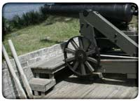 Banquette over top of a 32-pounder barbette-carriage's pintle at Fort McAllister, Georgia