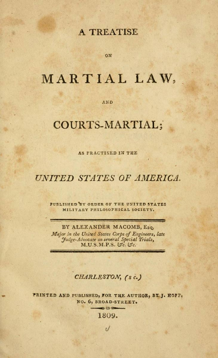 Title page of macomb s official manual for u s army courts martial
