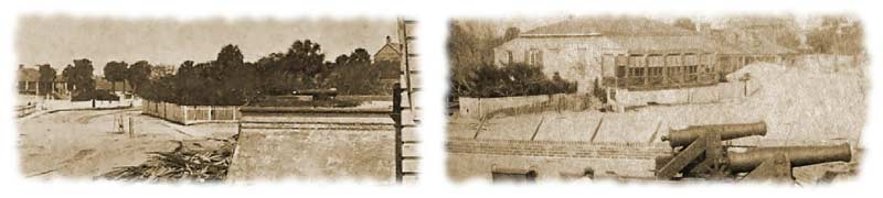 "Two views of ""Cohen's garden,"" the fenced civilian compound and summer-villa which was located nearest to Fort Moultrie's northeast bastion, as seen in the backdrop of these two photographs taken during mid-April 1861. (Osborn & Durbec)"