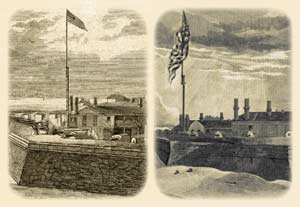 Comparisson between Fort Moultrie's garrison-flag and post-flag depicted in old photos