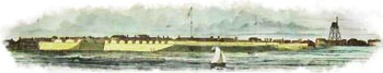 "Hand-tinted engraving of Fort Moultrie, as ""drawn by an officer of Major Anderson's command"" and published in the March 2, 1861 edition of Harper's Weekly"
