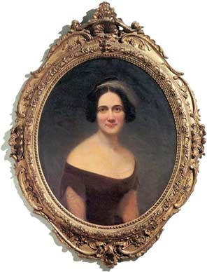 Picture of 33-year-old Mary Boykin Chesnut, as painted in 1856 by the portraitist Samuel Stillman Osgood — the year prior to her visit to Sullivan's Island, as described in the accompanying entry. (National Portrait Gallery)