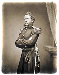 "Assistant Surgeon Capt. S. Wylie Crawford, posed in full-dress uniform in Mathew Brady's New York City studio in the spring of 1857, with his ornate ""Ames Medical Staff sword"" visibly displayed. (U.S. National Archives)"