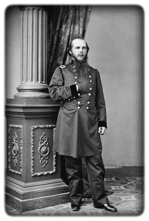 30-year-old U.S. Artillery Capt. John M. Schofield, photographed as a newly-promoted Brigadier General of Volunteers in Mathew Brady's Washington studio, late 1861