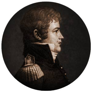 Macomb as he appeared while in Charleston during the winter of 1808-1809; an engraving by the visiting French-born portraitist Charles de Saint-Mémin