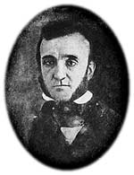 Earliest known daguerreotype of Edgar Allan Poe, ca. 1842, fifteen years after disembarking at Fort Moultrie as a teenage recruit; he would not grow out his trademark moustache until 1845