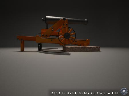 Spin-diorama of a 24-pounder cannon