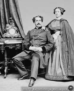 Stereoscopic animation of a pair of formal photographs of Maj.-Gen. Abner Doubleday and his wife Mary, taken in Mathew Brady's studio in Washington, D.C., ca. 1864