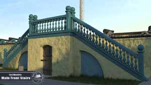 3D recreation of Fort Moultrie's Front Stairs service-magazine